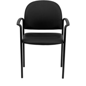 Comfort Black Vinyl Stackable Steel Side Reception Chair with Arms