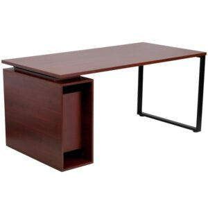 Mahogany Computer Desk with Open Storage Pedestal